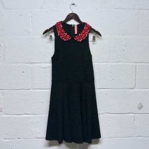 Pink Beaded Peter Pan Collar Black Dress